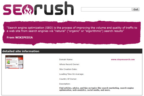 seo rush screenshot 10 Website & SEO Analysis Tools