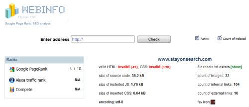 webinfo screenshot 10 Website & SEO Analysis Tools