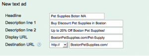 Pet Supply Sample Text Ad For PPC