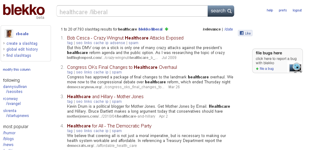 Blekko Search healthcare liberal 2 Reasons to Use Blekko Over Google For Search