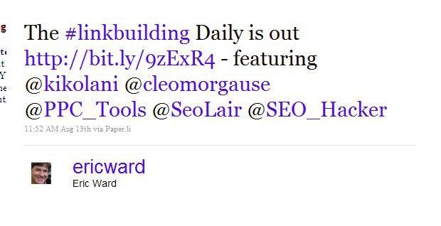 Hashtag Daily Paper.li Tweet