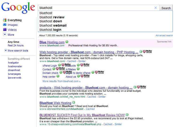 Google Instant Search Results Hosting