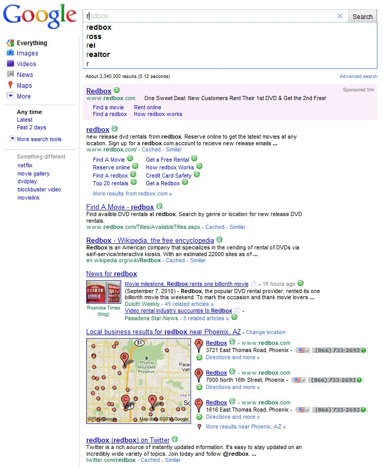 Google Instant Search Results R