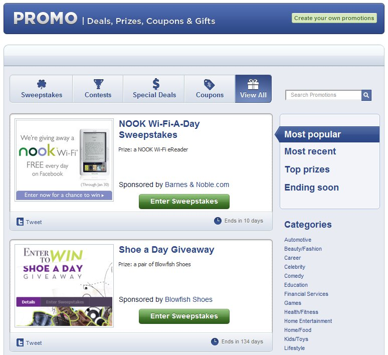 Facebook Promotions Application