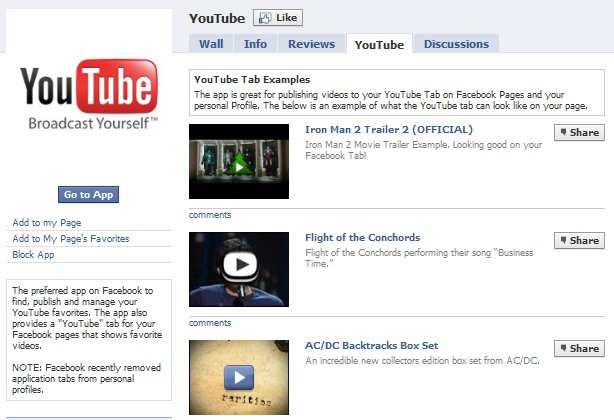 Facebook YouTube Applications