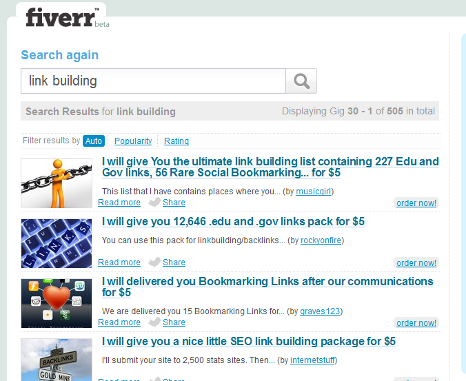 What i did was a search for link building on fiverr and found