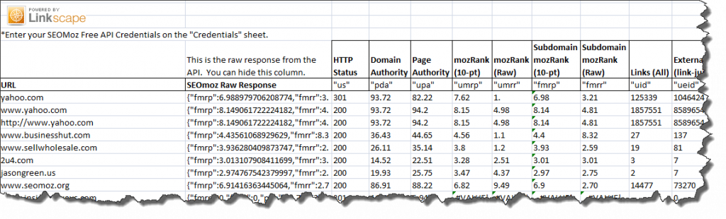 Linkscape and Excel Spreadsheet SEO Tool