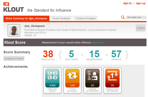 klout profile Process for Analyzing a TwitterAccount