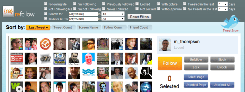 refollow Process for Analyzing a TwitterAccount