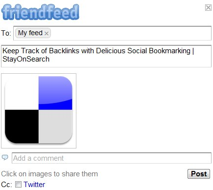 FriendFeed Bookmarklet Share Box