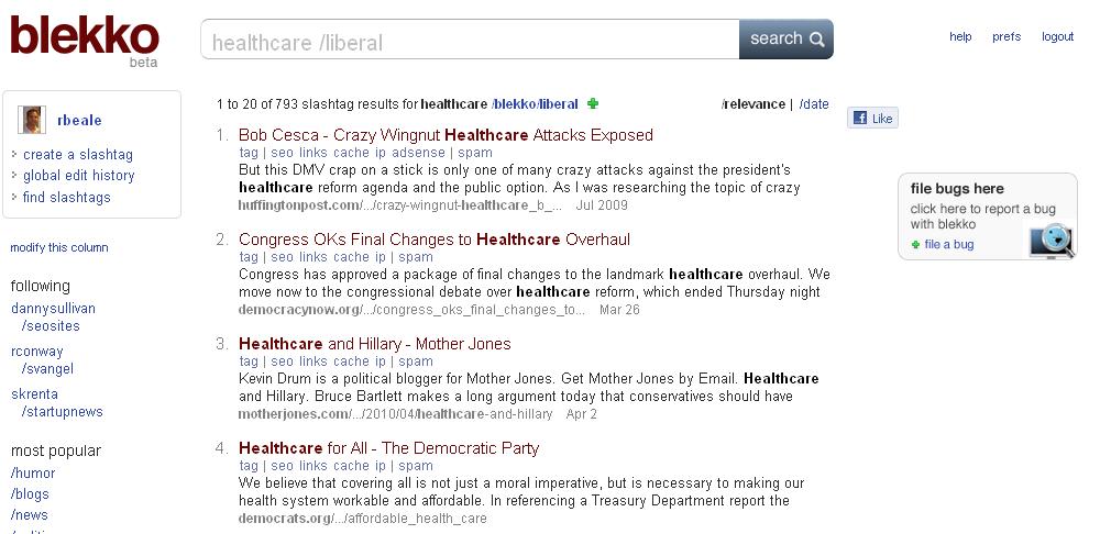 Blekko Search   Healthcare /Liberal