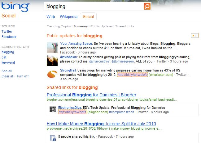 Bing Social Search