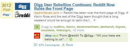 Digg Rebellion via Reddit