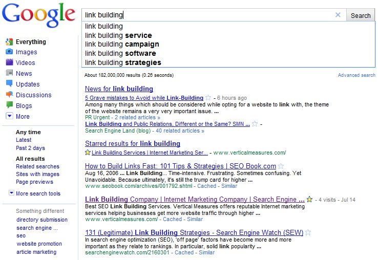 Google Instant Search Results Link Building