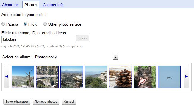 Add Flickr or Picasa Photos to Google Profile