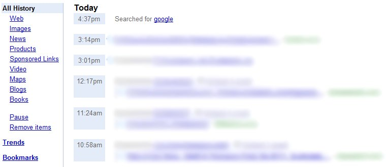 Remove Items from Google Web History