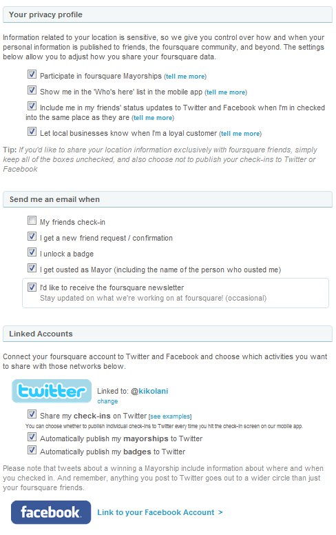 Foursquare Privacy Settings