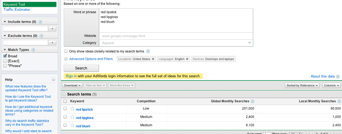 Using the Google Keyword Tool